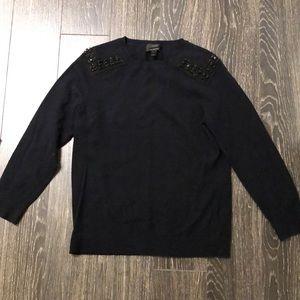 Sz S JCrew Cashmere beaded sweater - navy